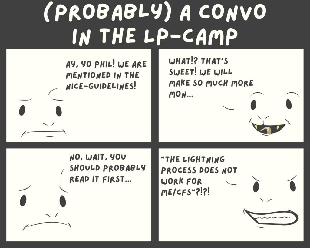 a comic strip, a LP-instructor tells Phil Parker that the Lightning Process is mentioned in the NICE-guidelines.